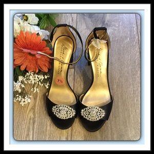 Badgley Mischka Block Heel Black Satin Sandals,7.5